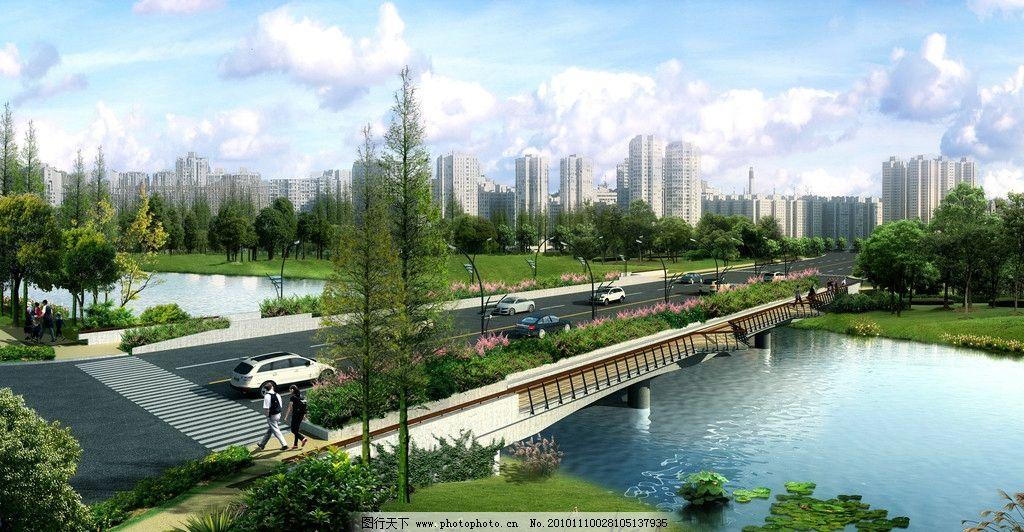 高層住宅 建筑設計效果圖 建筑空間 效果 3d模型 物業 小區 路橋 景觀
