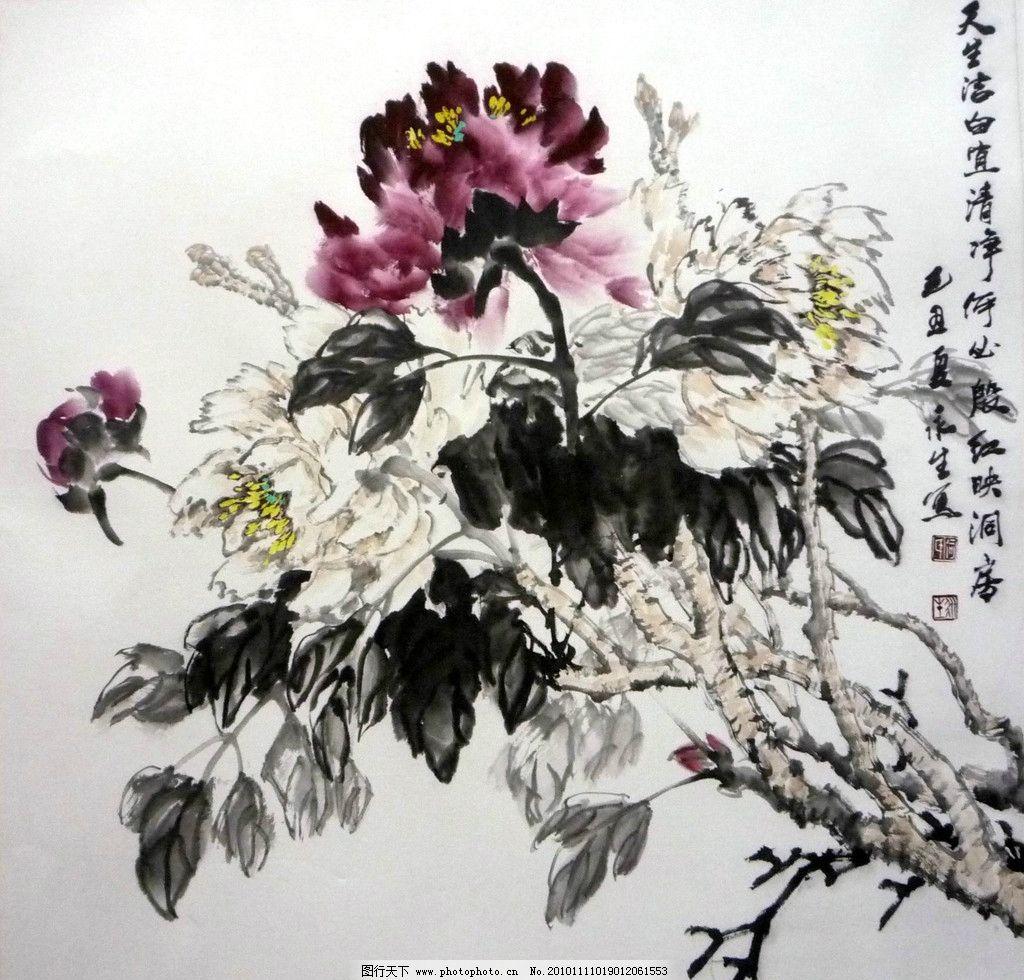 中国国画大师画牡丹-鱼,风景,水墨