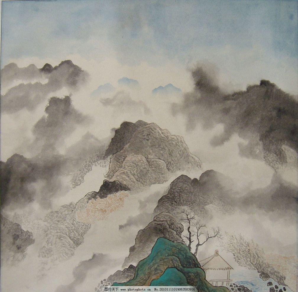 空旷神怡 国画 中国画 山水画 写意画 书法 大师作品 风景画 写意