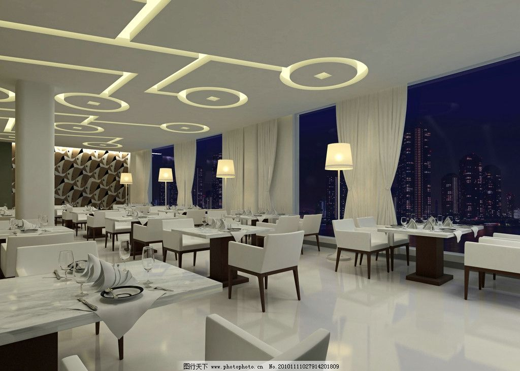 逸林商务酒店餐厅效果图 沙发 椅子 地板 天花板 灯光 室内 房屋 装修
