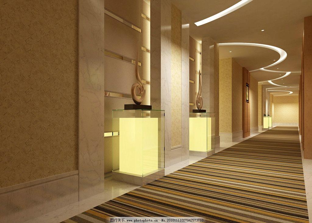 商务酒店宾馆走廊设计效果图图片