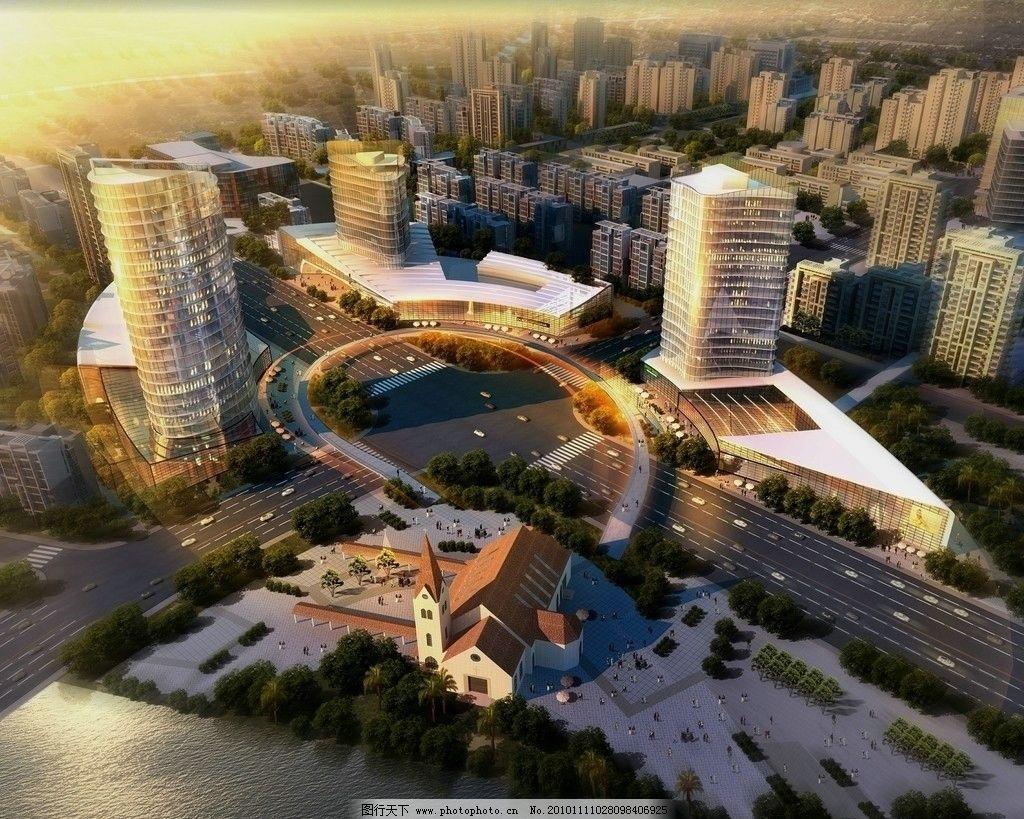 黄昏鸟瞰 鸟瞰 高楼 园林 楼盘 高层住宅 建筑空间 效果 3d模型 规划