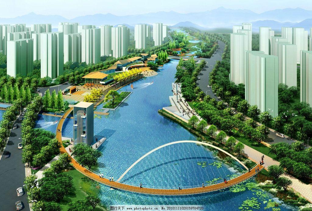 建筑效果图 建筑 城市 楼房 美丽的城市 河流 桥 山 景观 景观