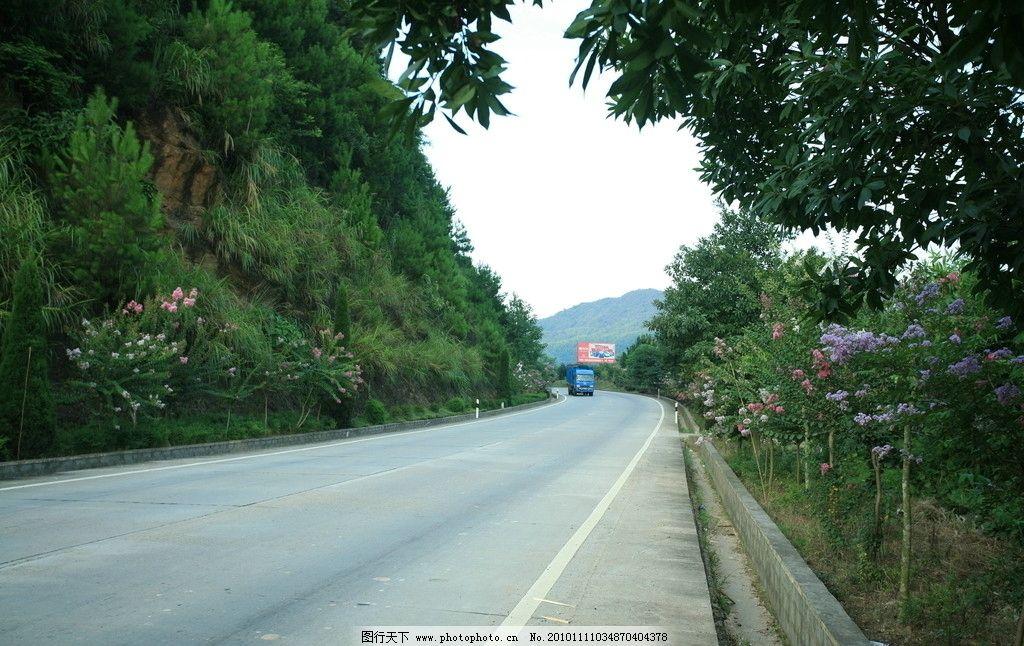 公路 车 山 树 花 绿色 公路上的车 自然风景 自然景观 摄影 72dpi