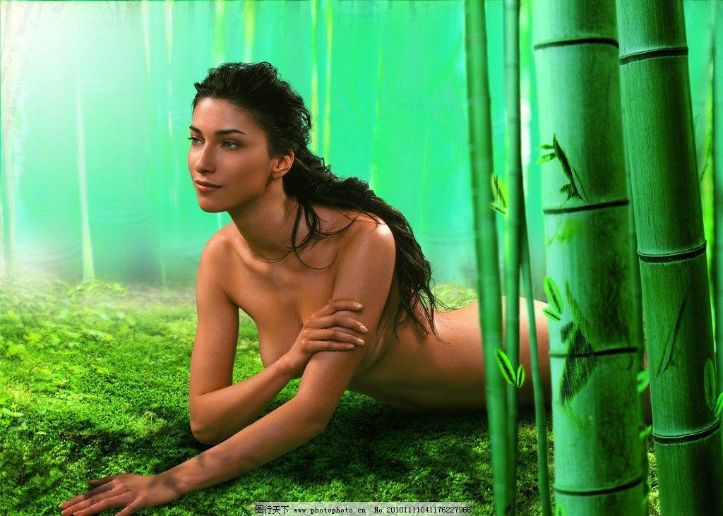 绿地美人水疗 绿地 睡美人 竹子 背影 森林 树林 美女 女性妇女 人物