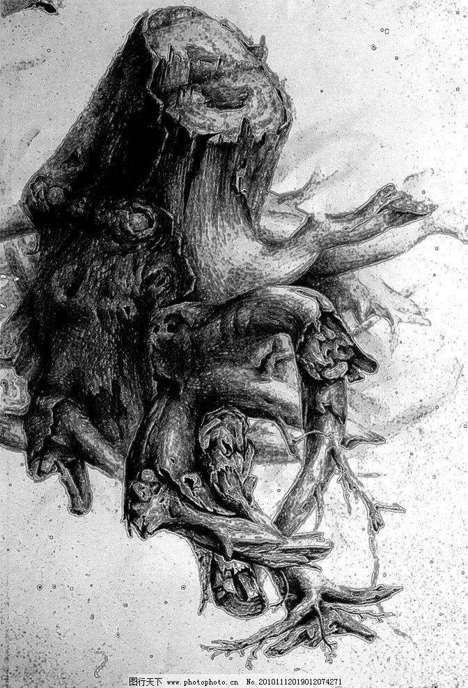 树根 树庄 素描图片