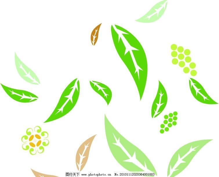 叶子 飘落的叶子 绿色的 花朵 花纹花边 底纹边框 矢量 cdr