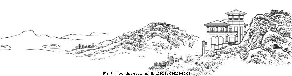线描山 别墅 山水 建筑 景观 房地产 手绘 建筑景观 矢量