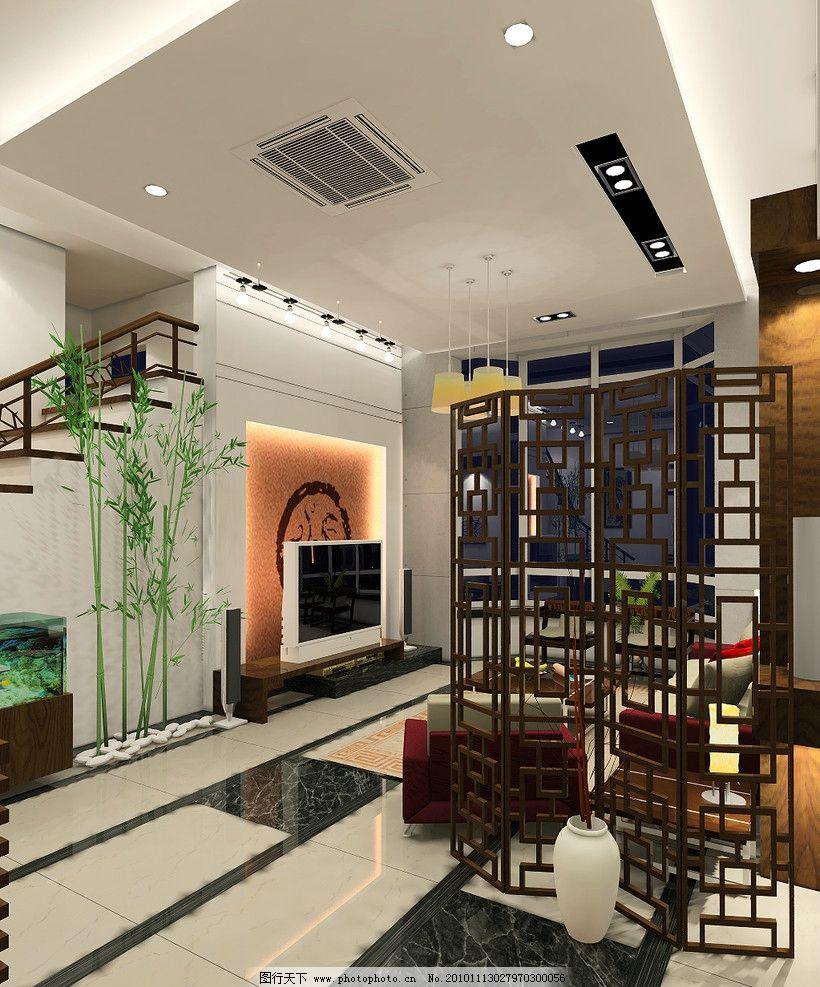 客厅空间 造型顶面 电视背景墙 楼梯 工艺隔断 吸顶空调 室内设计