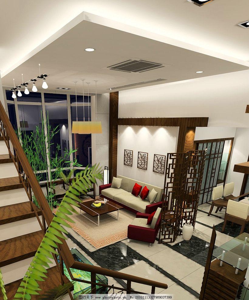 客厅效果图 现代式顶面 吸顶空调 沙发背景造型 木隔断 楼梯 工艺吊灯图片