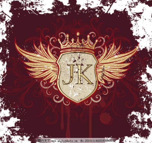 花纹翅膀盾牌 花纹 花边 金色 翅膀 皇冠 墨迹 墨点 盾牌 欧式 古典