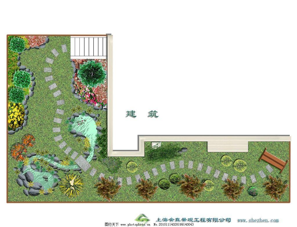 庭院景观平面图 石头 树 花 草地 水杉 鹅软石 景观 绿化 庭院 景观