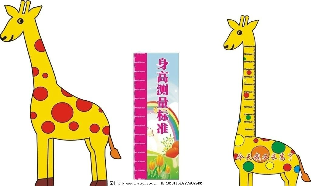 长颈鹿身高图 蓝天背景 绿色草地 矢量身高 矢量长颈鹿 广告设计 矢量