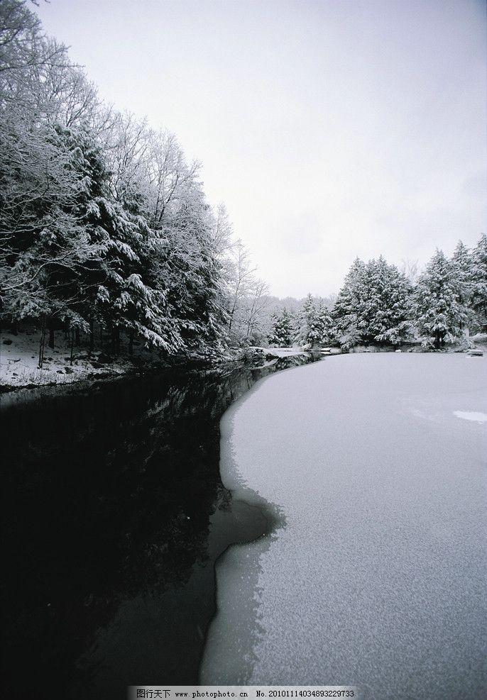 冬天 雪景 湖泊 河流 冰面 雪地 雪树 冬季风光 冬季美景 自然风光 自