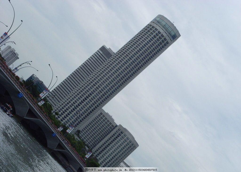 高楼大厦 海水 海面 大桥 蓝天 白云 背景 摄影 风景 新加坡摄影 国外