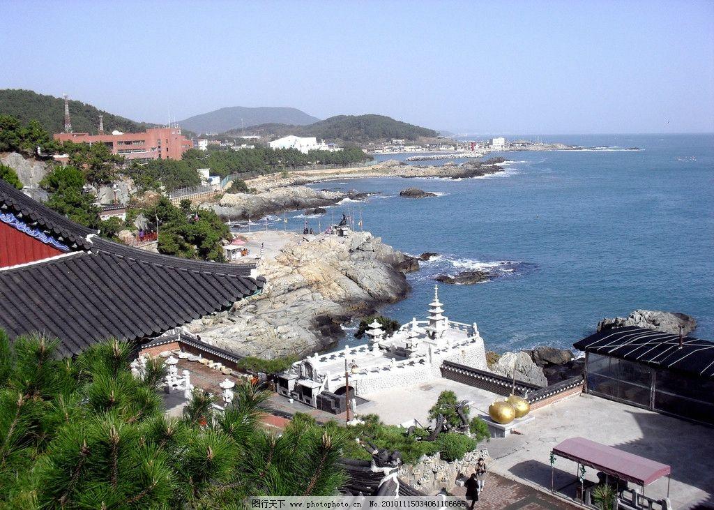 韩国海湾 蓝天 大海 山丘 城市 房屋 树木 绿色 深蓝色 国外旅游 旅游