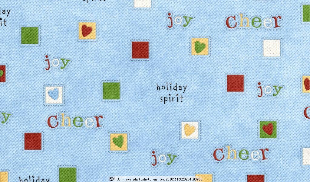 蓝底单词与方块 可爱 卡通 布纹 平铺 背景 底纹 韩国 简洁