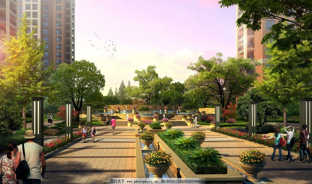 小区入口效果图 景观设计 花坛 入口 银杏大道 透视图 环境设计 设计