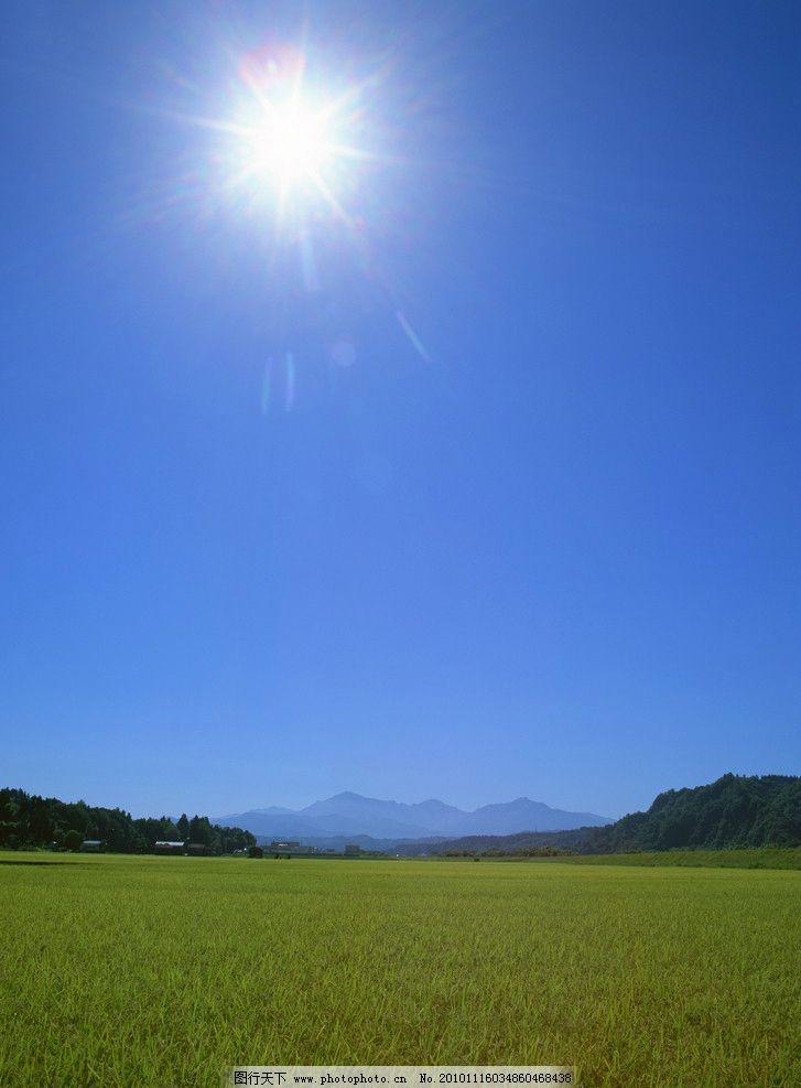绿地 蓝天 阳光 山 田园 田野 上风 太阳 远山 山峦 山峰 稻田 自然