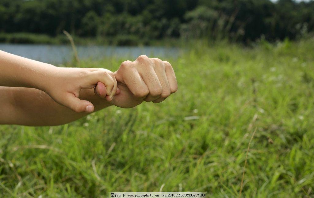 父亲与孩子图片,一家人 父子 父爱 手势 牵手 绿地-图