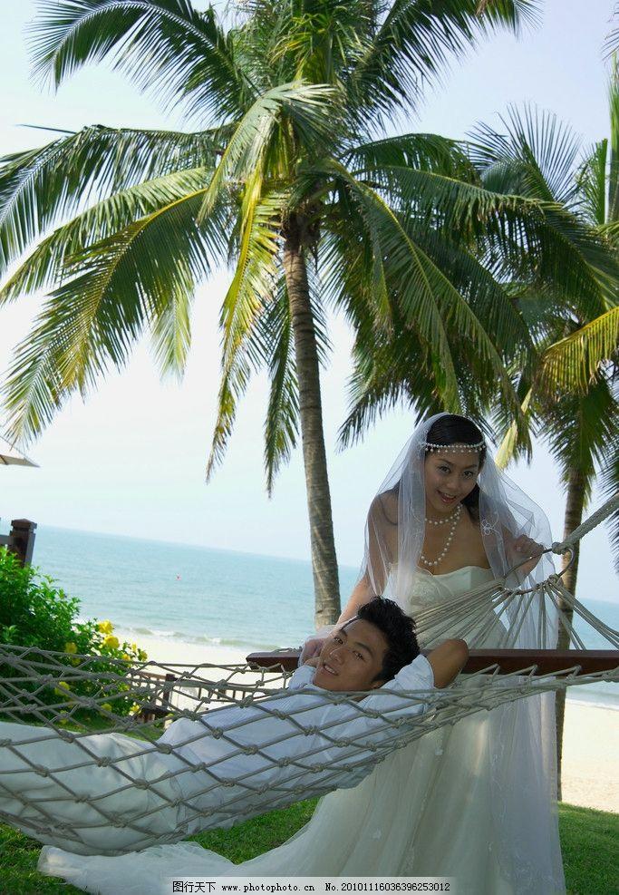 旅游婚纱样片 婚纱情侣 情人 恋人 风景 椰树 草地 大海 海滩