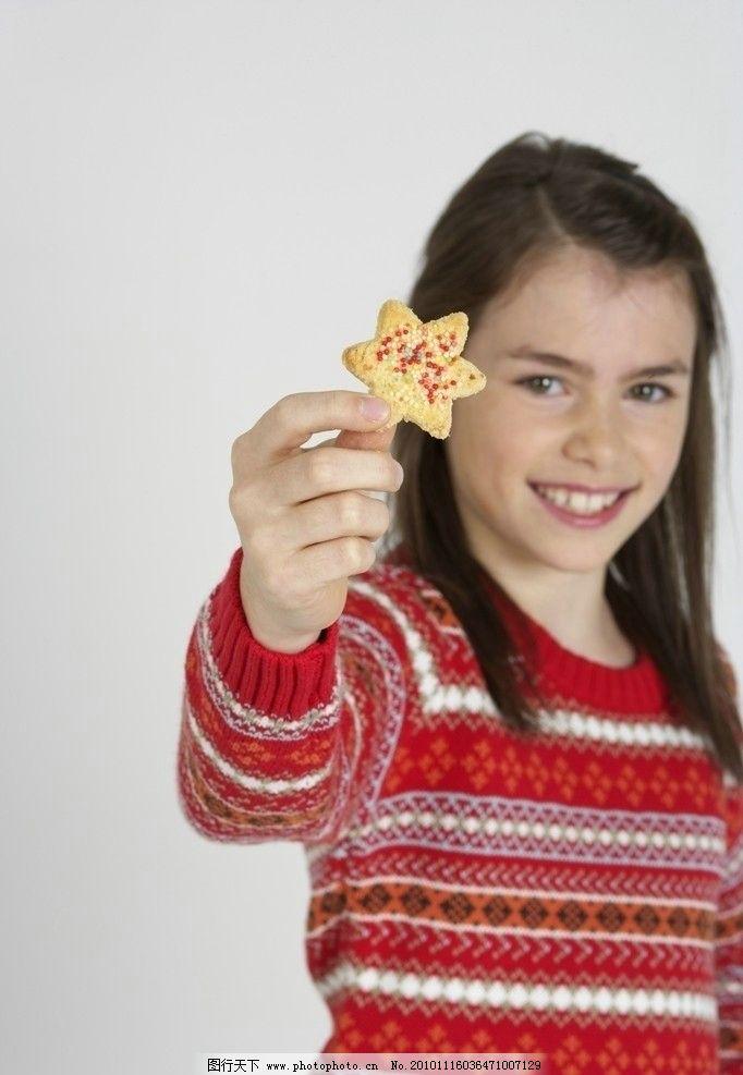 儿童高清 圣诞 圣诞节 甜品 饼干 点心 星星 小孩 宝宝 快乐