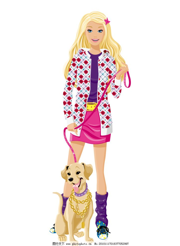 芭比娃娃 芭比 卡通芭比 女孩 小狗 宠物狗 迪士尼 迪斯尼 banlie 美女