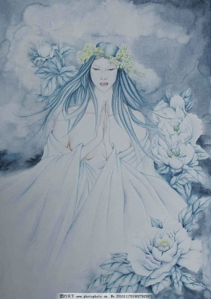 仙女 人物国画 国画 工笔画 国画艺术 现代国画 花仙子 国画作品 美女