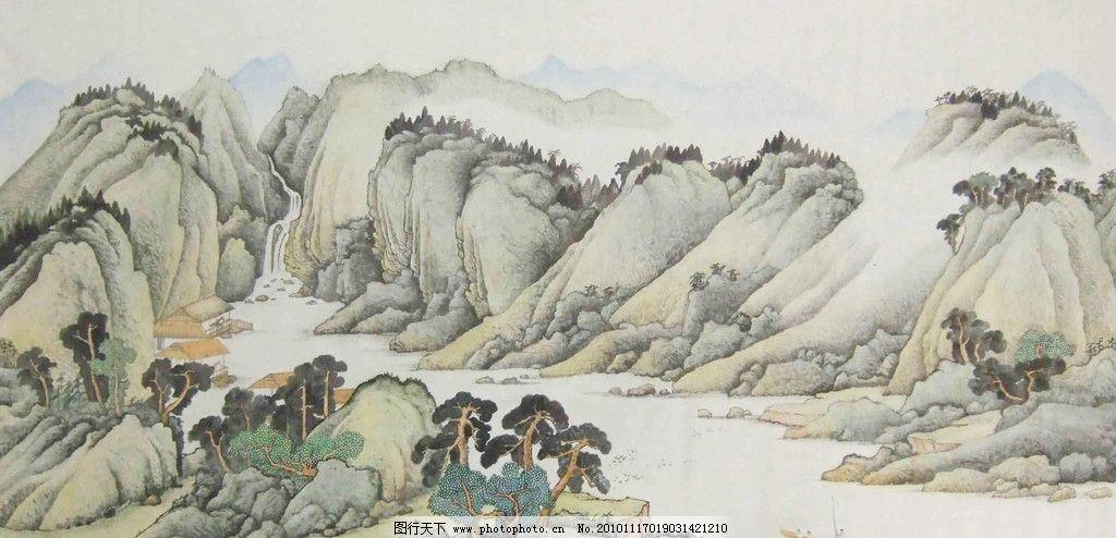 山水画 水墨画 小船 树木 绘画书法 文化艺术 设计 72dpi jpg