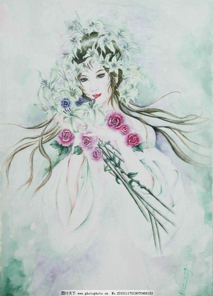 仙女 人物国画 国画 工笔画 国画艺术 现代国画 国画人物 树木 人物