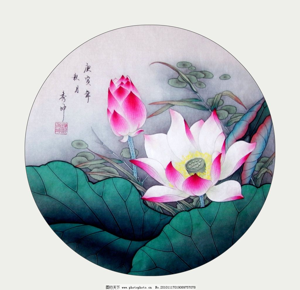 荷花艳 美术 绘画 中国画 工笔画 花卉画 荷花 荷叶 水草 书法 印章