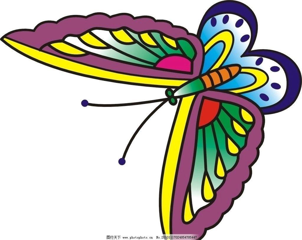 彩色蝴蝶 可爱 卡通 彩色 蝴蝶 漂亮 美丽 昆虫 生物世界 矢量 cdr