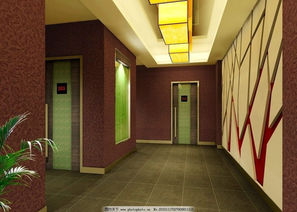 走廊效果图 走廊设计 走廊装饰 高贵典雅 酒店过道 酒店走廊