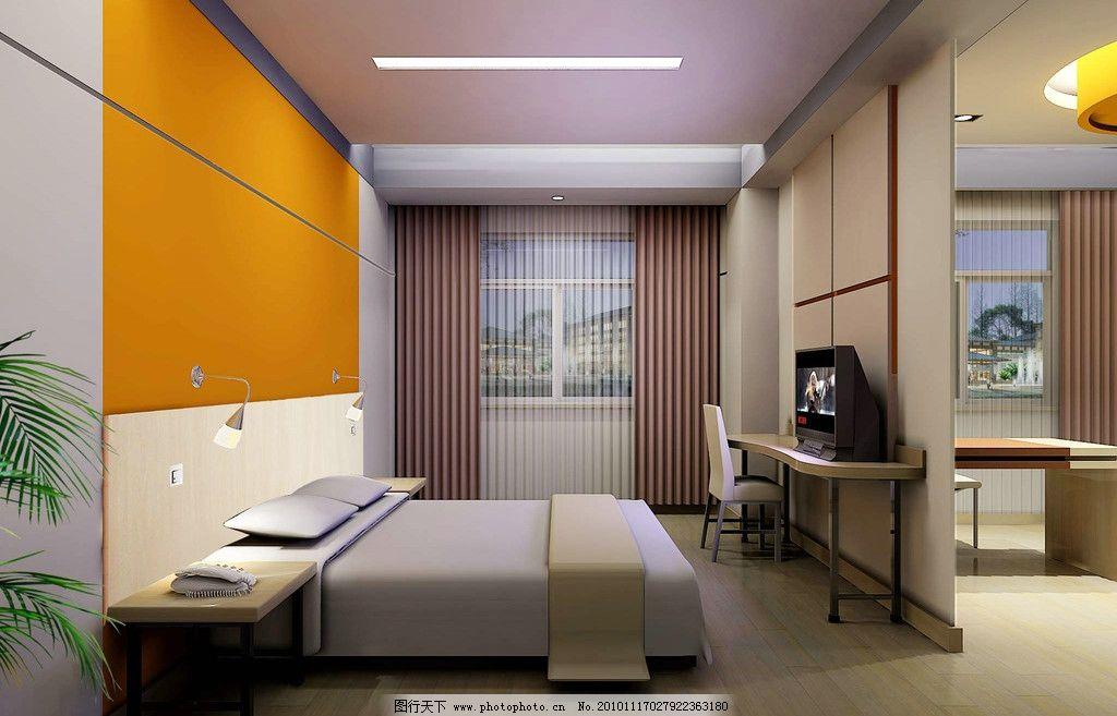 套房卧室效果图 宾馆酒店房间 宾馆酒店标准间 宾馆客房 家庭宾馆
