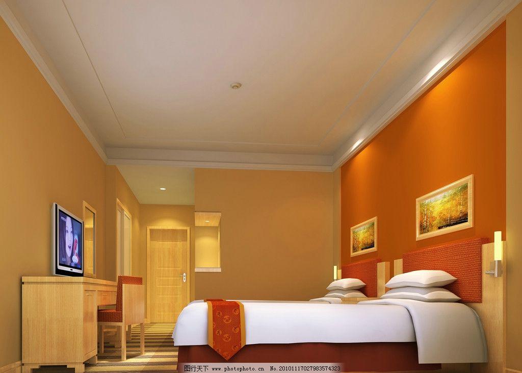 宾馆酒店标准间 宾馆客房 家庭宾馆 酒店室内装修素材 室内设计 环境