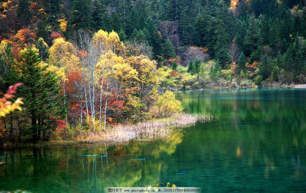 九寨沟山水 九寨沟 初秋 湖水 倒影 树木 红叶 山水风景 自然景观