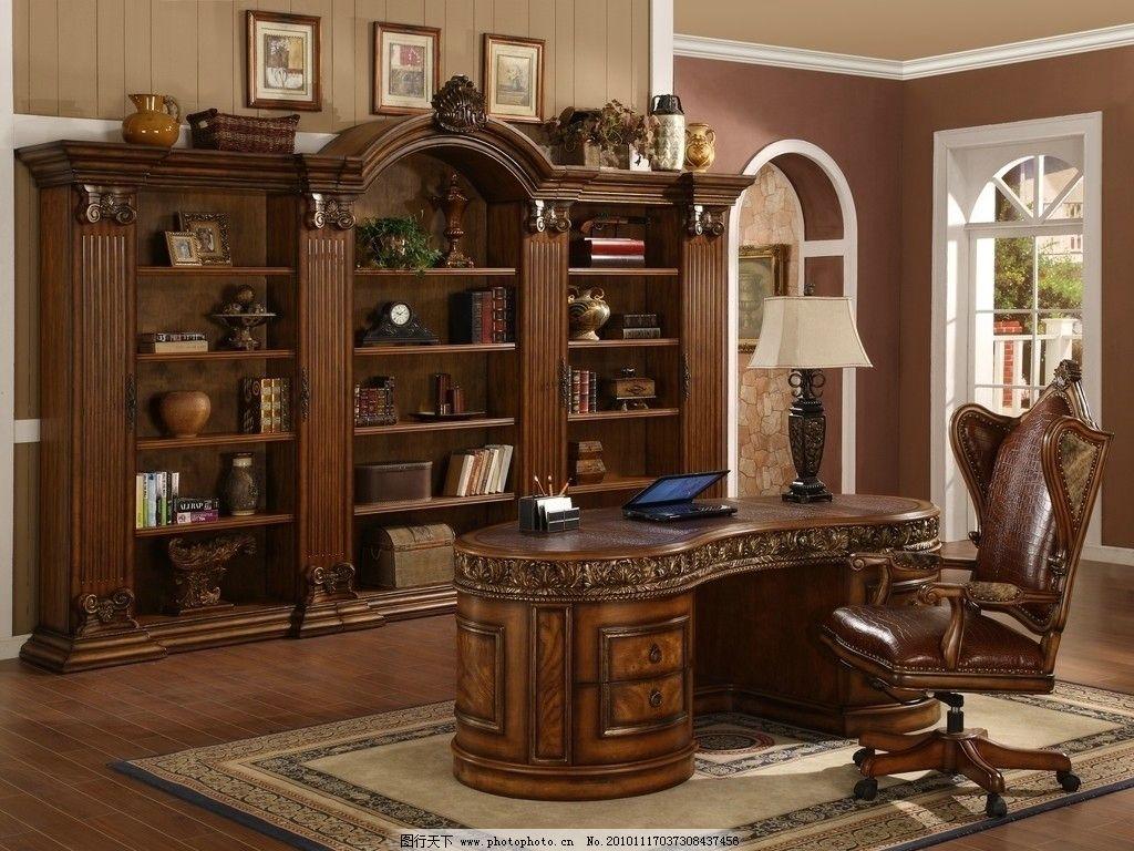 书房 书桌 办公桌 笔记本 手提电脑 台灯 书柜 家具 装修 古典 欧式