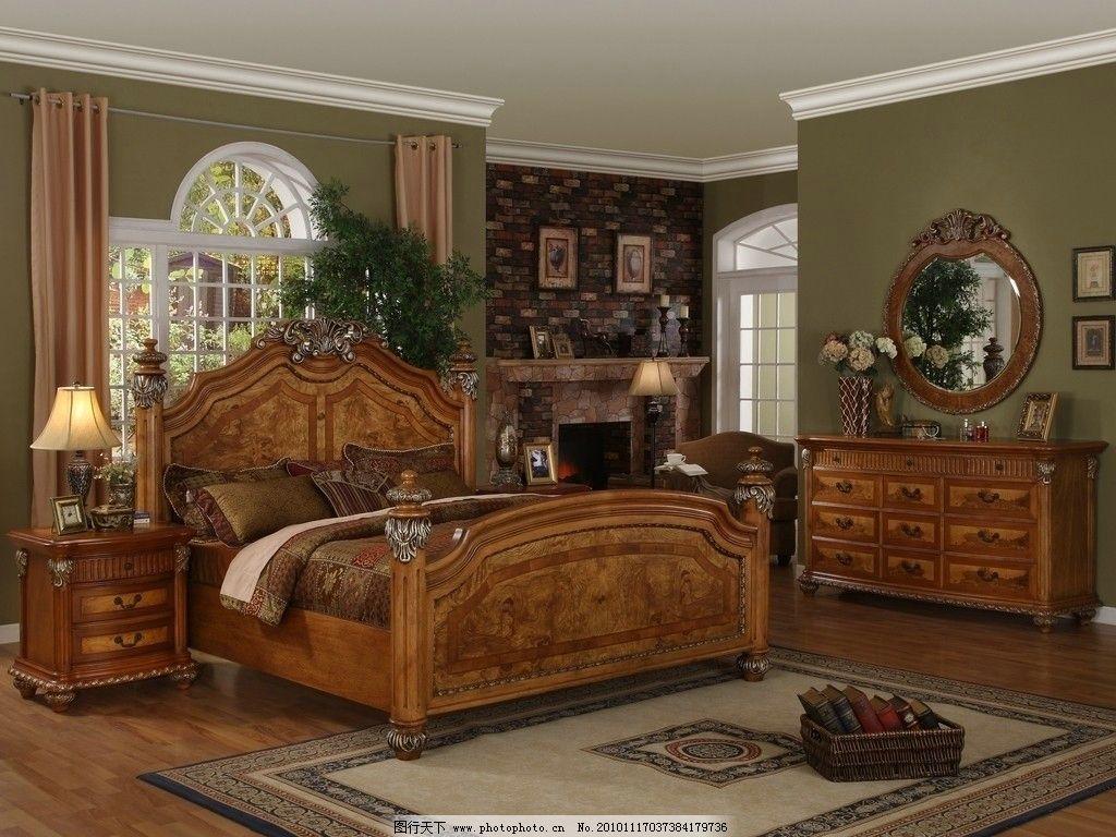 卧室 家居生活 床头柜 台灯 化妆台 衣柜 家具 盆栽 装修 古典欧式