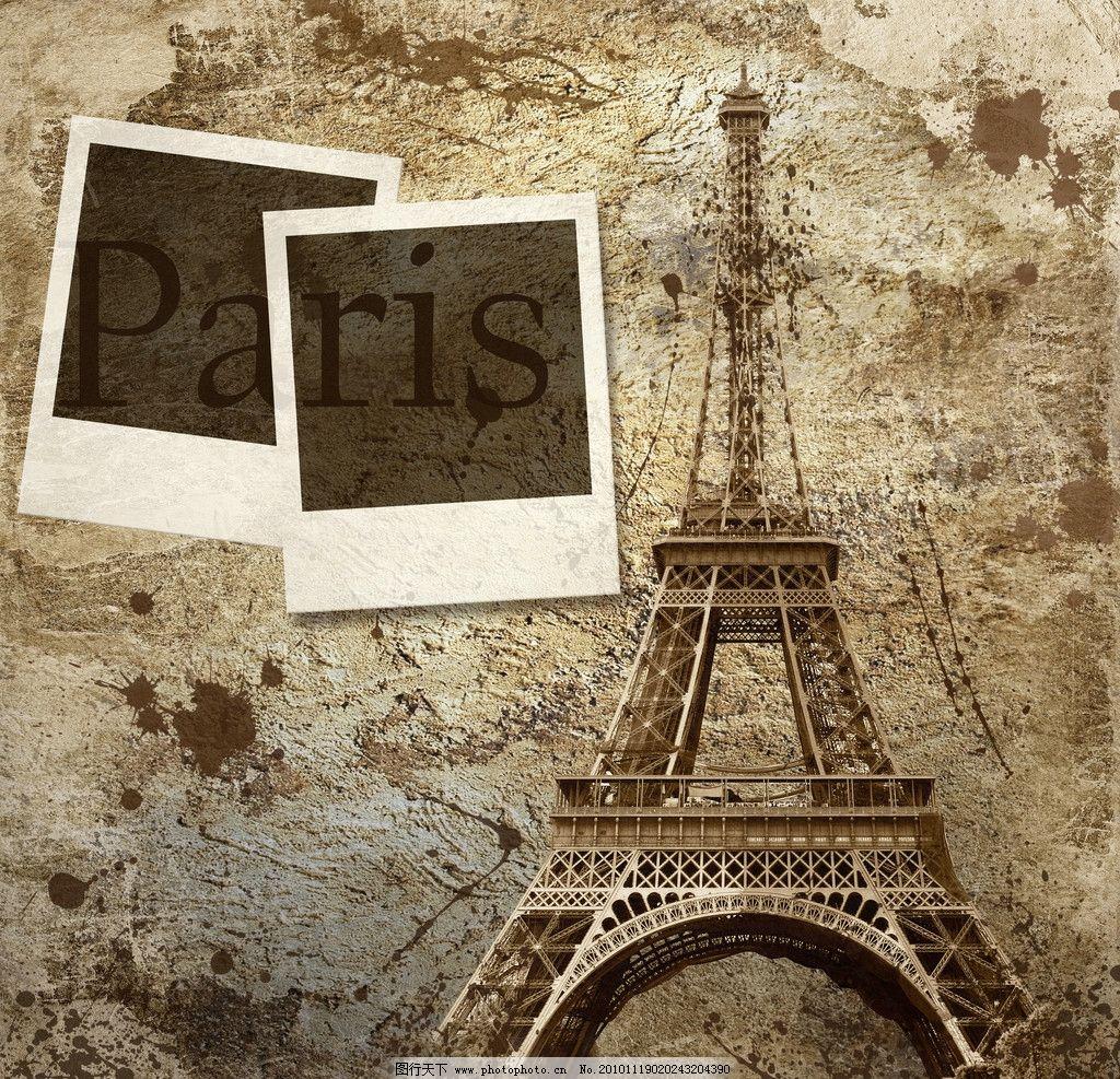 复古巴黎铁塔背景图片