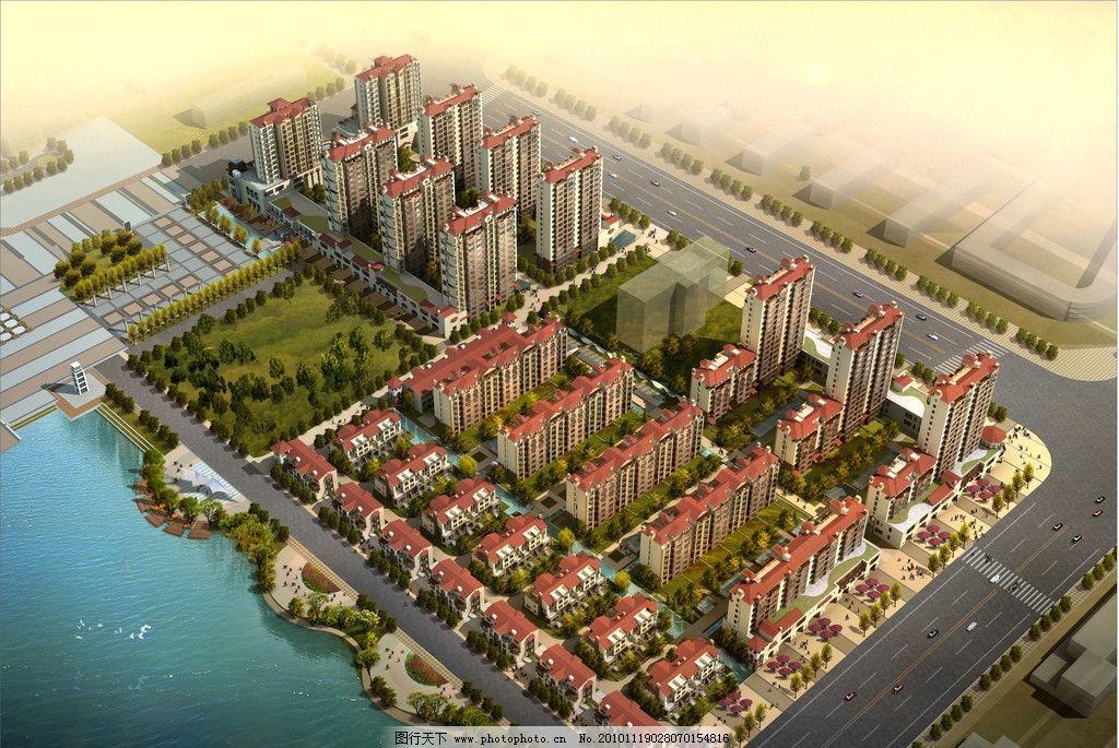 楼盘鸟瞰 楼盘图片 建筑设计 高级住宅楼 高层建筑 房屋 楼房 鸟瞰