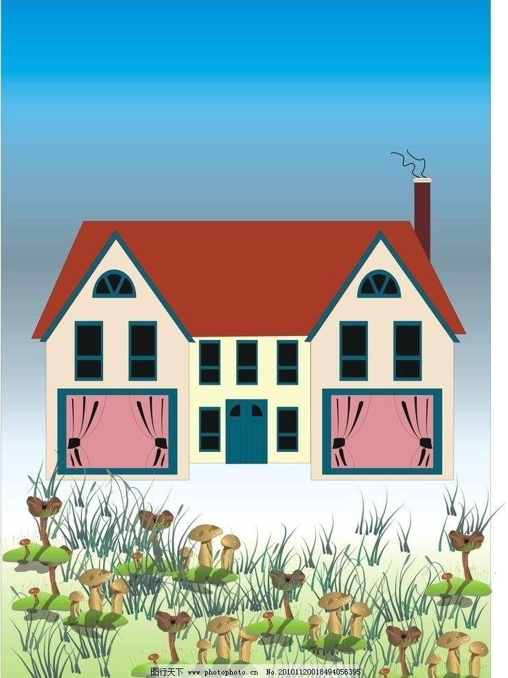 房子 别墅 蘑菇 草地 风景漫画 动漫动画 设计 300dpi jpg
