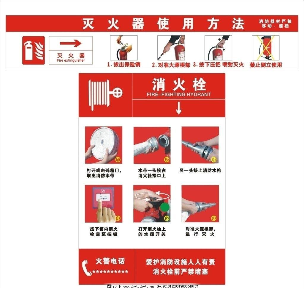 消火栓 灭火器使用方法 公共标识标志 标识标志图标 矢量 cdr
