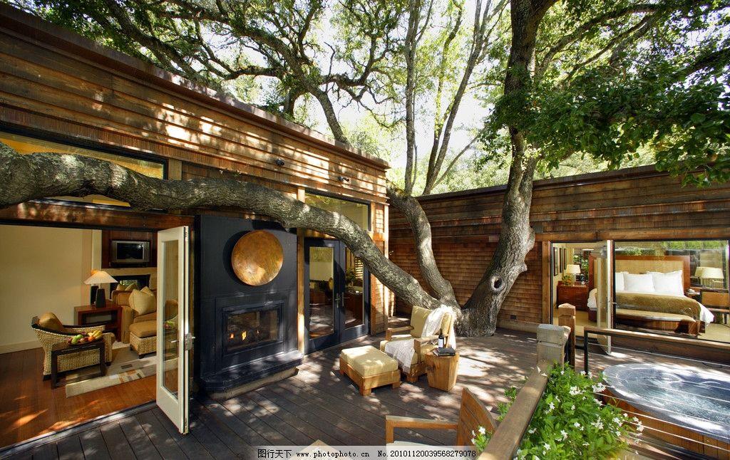 豪华别墅庄园里木质别墅中的小花园图片