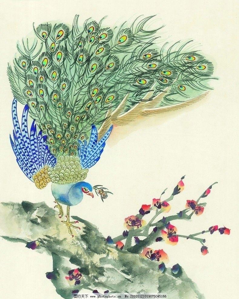 孔雀 鸟类 动物画 树 花
