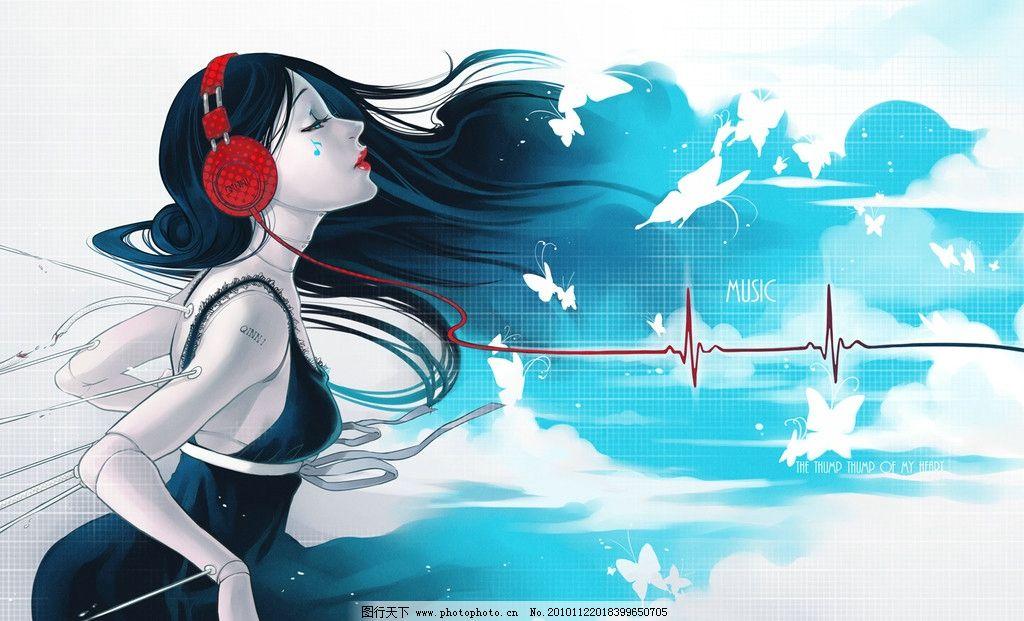 女孩 桌面 心电图 耳机