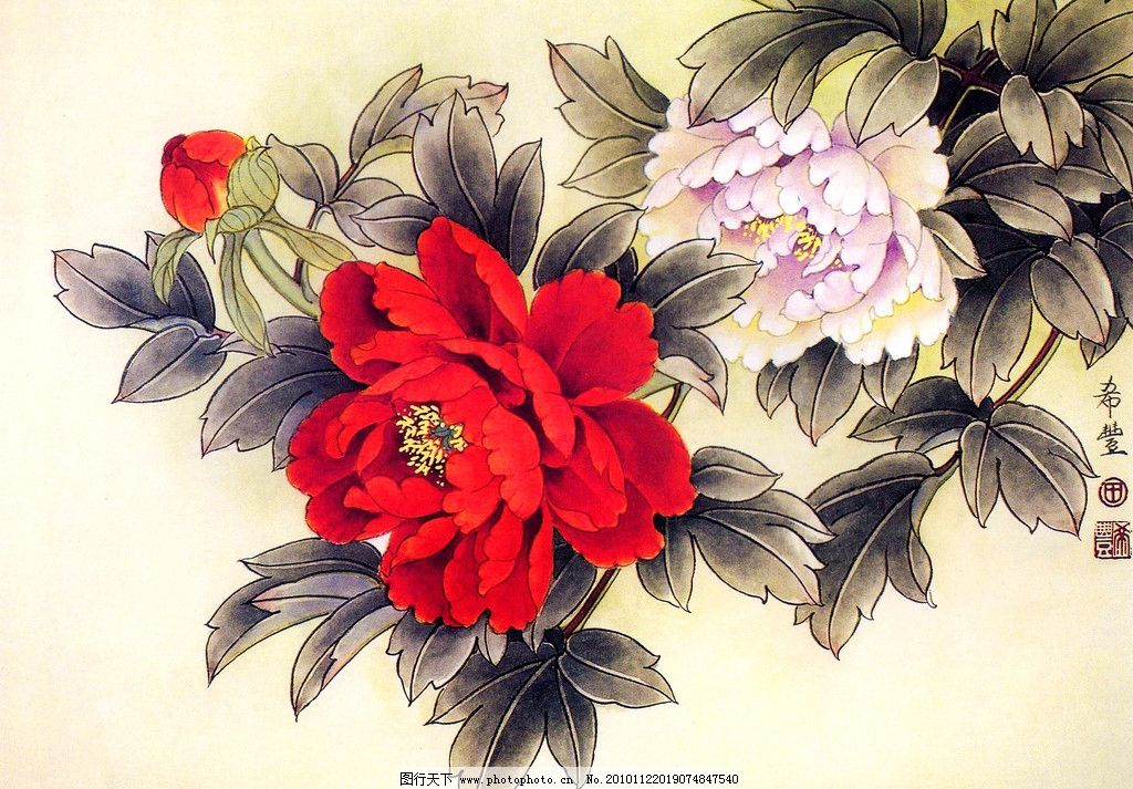 国色芳馨 美术 绘画 中国画 工笔重彩画 国花 牡丹花 红牡丹