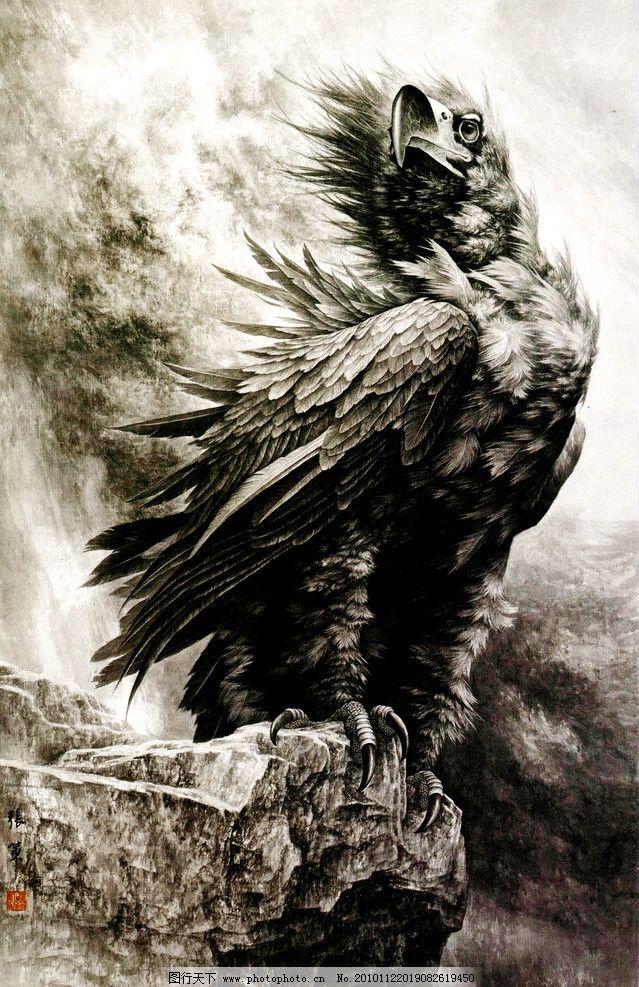 美术 绘画 中国画 工笔重彩画 动物画 鸟 猛禽 雄鹰 旷野 石头 国画
