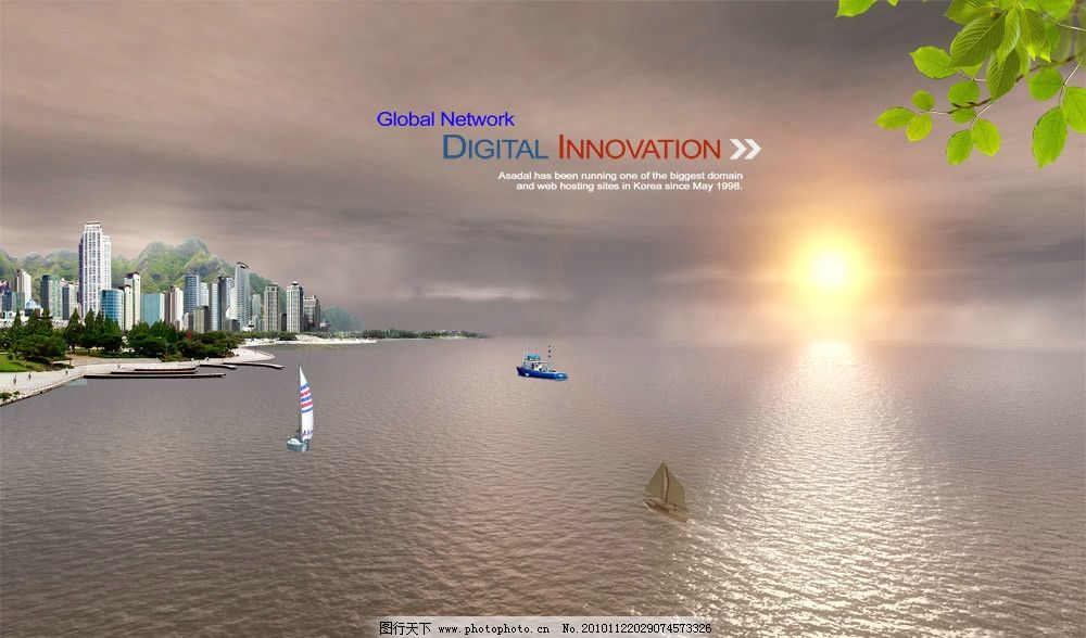日出风光 大海 沙滩 帆船 渔船 海滨城市 绿叶 海滨风景 海洋 湖水