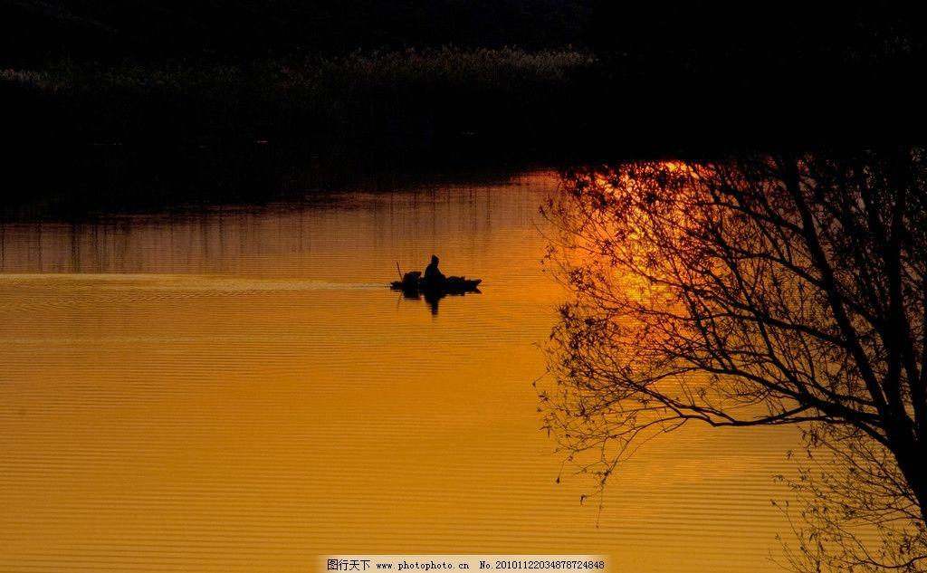 夕阳下的颍河 阜阳 颍河 河流 夕阳 剪影 渔船 郊外 自然风景 自然