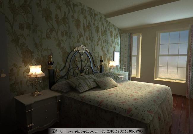 田园卧室 高雅 古典 欧式 室内 室内设计 田园风格 田园卧室设计素材